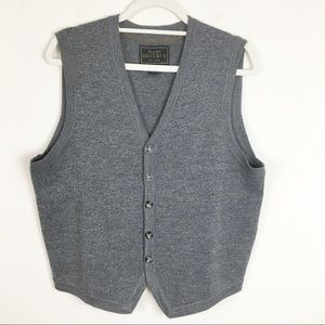 JoS. A. Bank Gray Merino Wool Button Down Vest M
